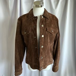 Brown suede jean jacket